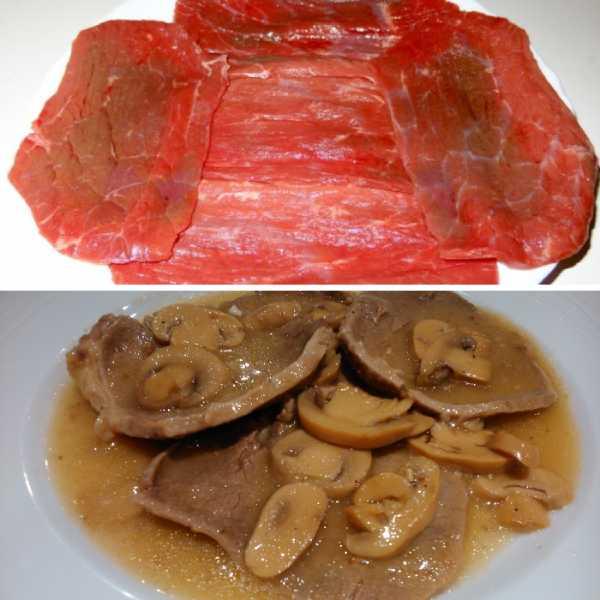 filetes de ternera con champinones antes y despues de cocinar